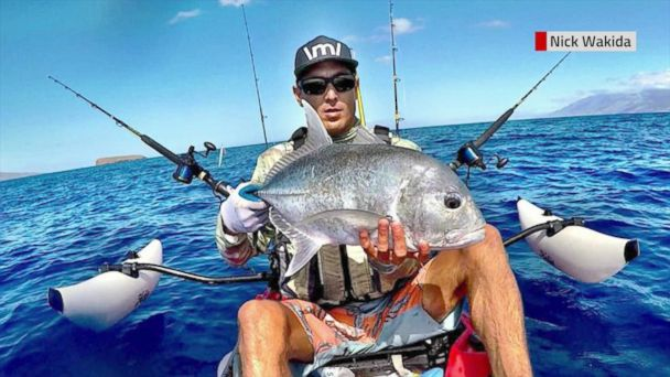 Nick Wakida caught the moment on camera while fishing off the coast of Maui.