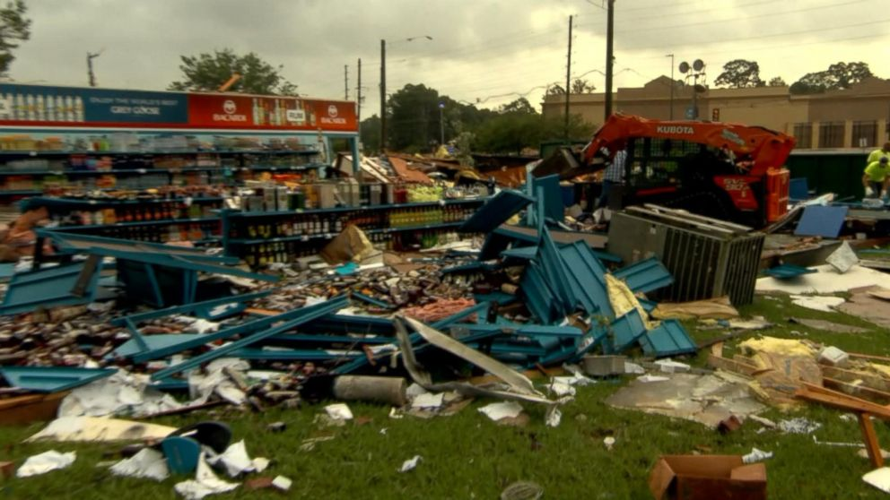 VIDEO: Remnants of Tropical Storm Cindy level local liquor store and auto center