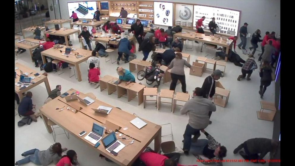 VIDEO: Video shows chaos inside Apple store as gunshots ring out in New York state mall