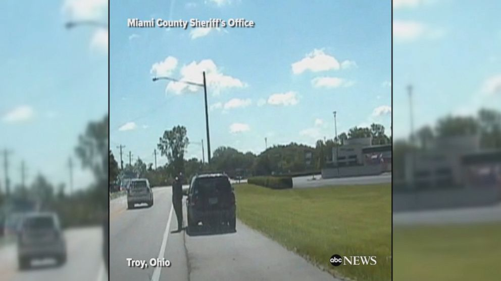 VIDEO: Dashcam footage shows a police car rolling backwards while the officer was out of the cruiser doing a traffic stop. The deputy was able to stop the cruiser before it hit anyone or anything.