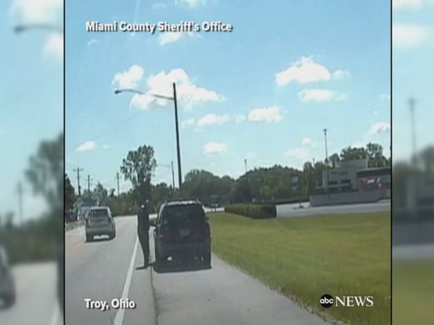 WATCH:  Police car rolls backward during traffic stop