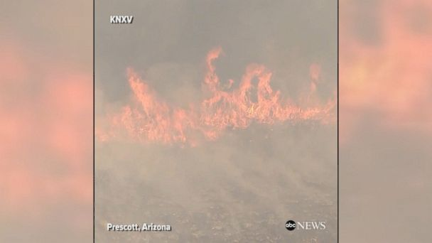 Aerial footage shows the Goodwin Fire raging in Prescott, Arizona. The fire has spread to 20,000 acres.