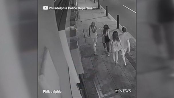 This surveillance video shows Good Samaritans stopping a would-be purse snatcher in Philadelphia, Pennsylvania.