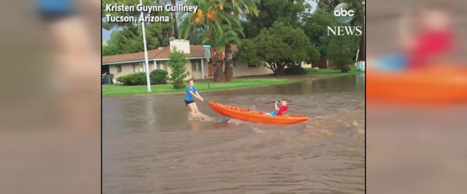 People went kayaking through the flooded streets of Tucson, Arizona, after a monsoon caused flash flooding in the area.