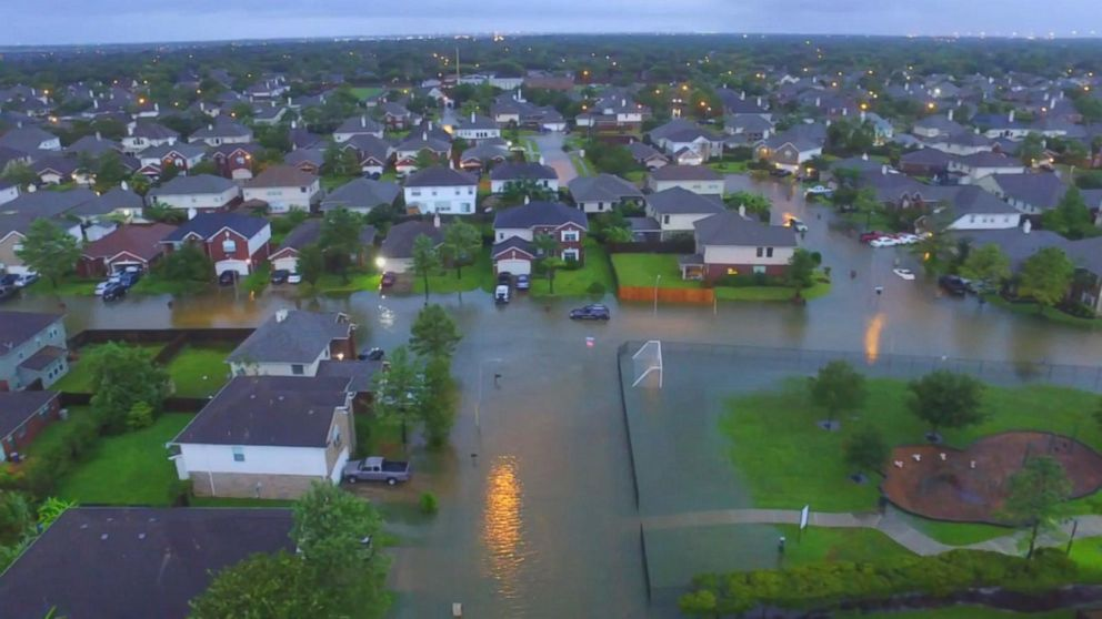 Now Playing: Drone Video Shows Extensive Flooding In Houston Area  Neighborhood