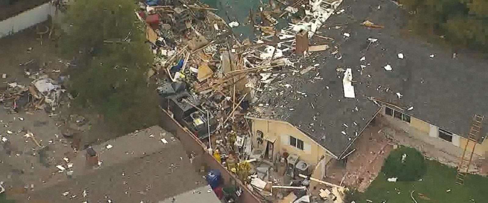 When a news helicopter flew over the damage, wrecked appliances, furniture, bricks and wooden beams could be seen scattered over multiple properties.