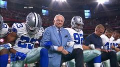 VIDEO: Dallas Cowboys owner Jerry Jones linked arms and kneeled with the teams players ahead of the national anthem this evening.