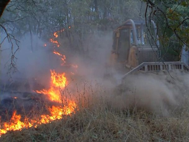 WATCH:  Firefighters use bulldozers to help contain California wildfires