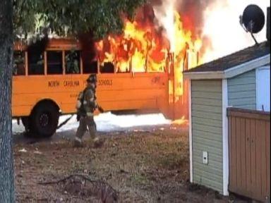 WATCH:  Students escape as school bus bursts into flames