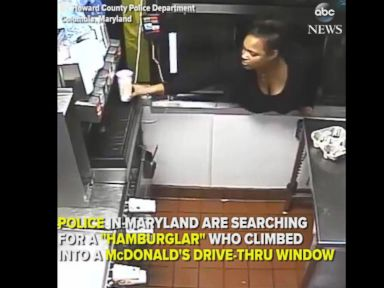 WATCH:  Woman climbs through McDonald's drive-through window to steal food and cash
