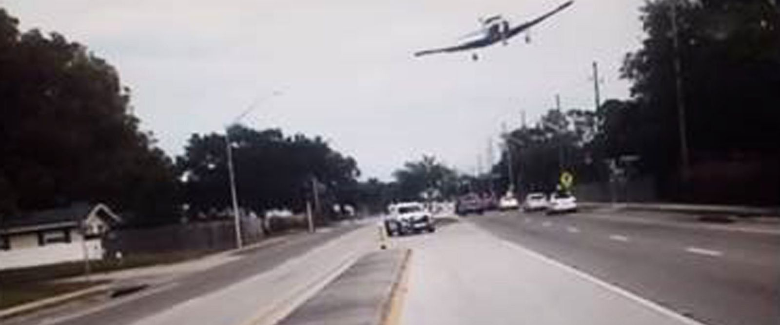 VIDEO: Police dashcam captures small plane moments before crash