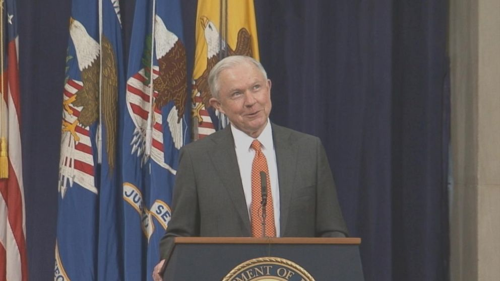 During an event with Justice Department interns in June, Attorney General Jeff Sessions is pressed on his harsh policies for marijuana but pretty lax gun control views.