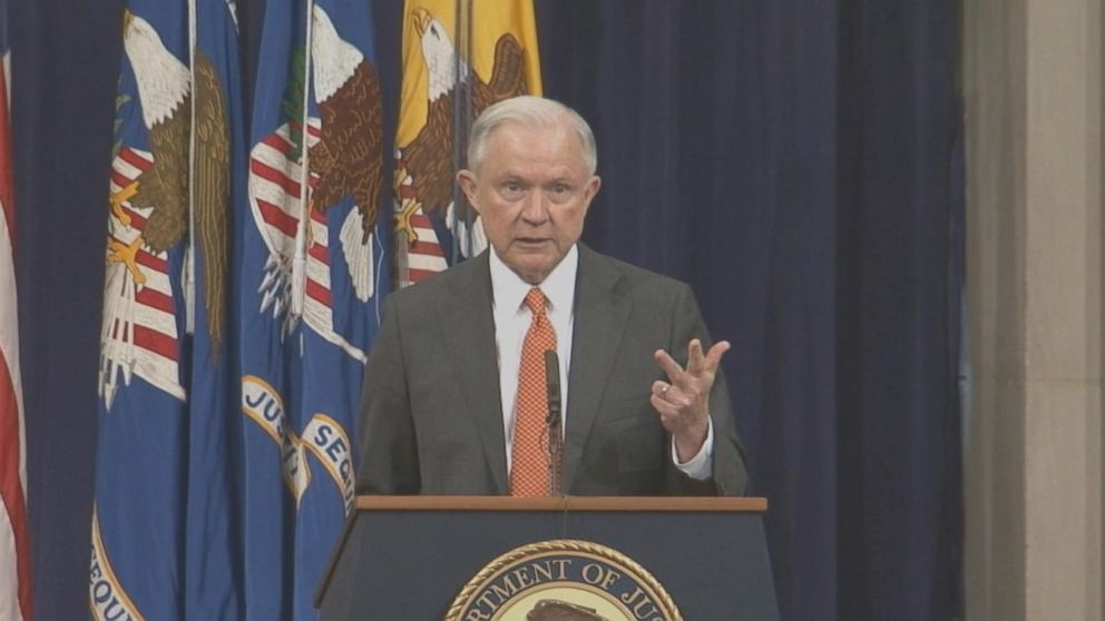 During an event with Justice Department interns in June, Attorney General Jeff Sessions is praised for making the opioid crisis a priority under his leadership.