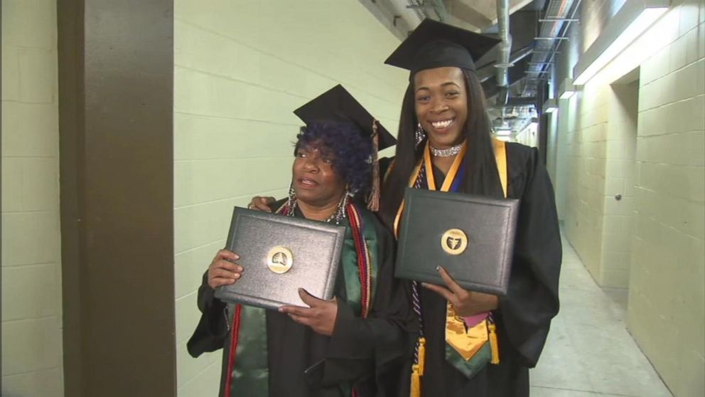 'VIDEO: Grandmother and her granddaughter graduate college together' from the web at 'http://a.abcnews.com/images/US/171214_vod_graduation_16x9_992.jpg'