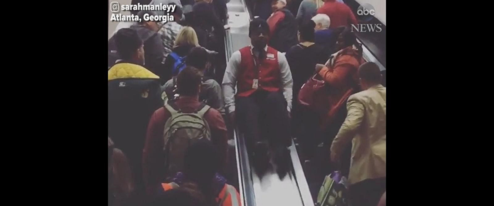 VIDEO: Atlanta airport worker slides down escalator during power outage