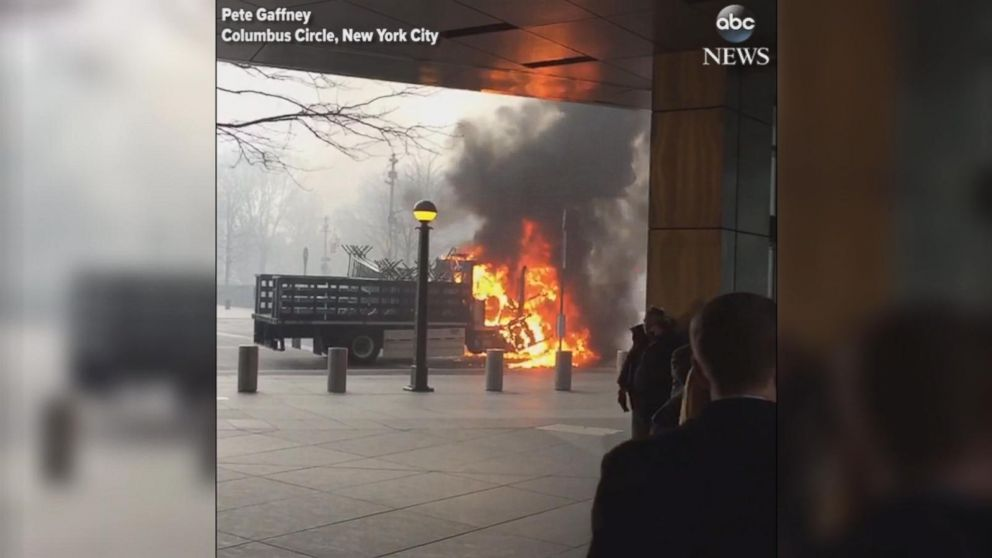 An NYPD  truck burst into flames in the middle of Manhattan