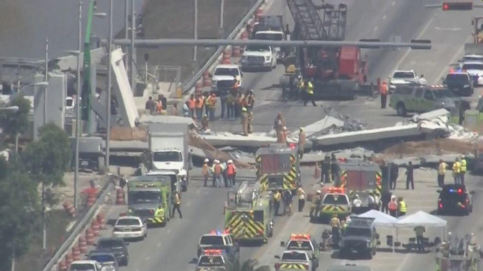 Several killed after pedestrian bridge at Florida International University collapses