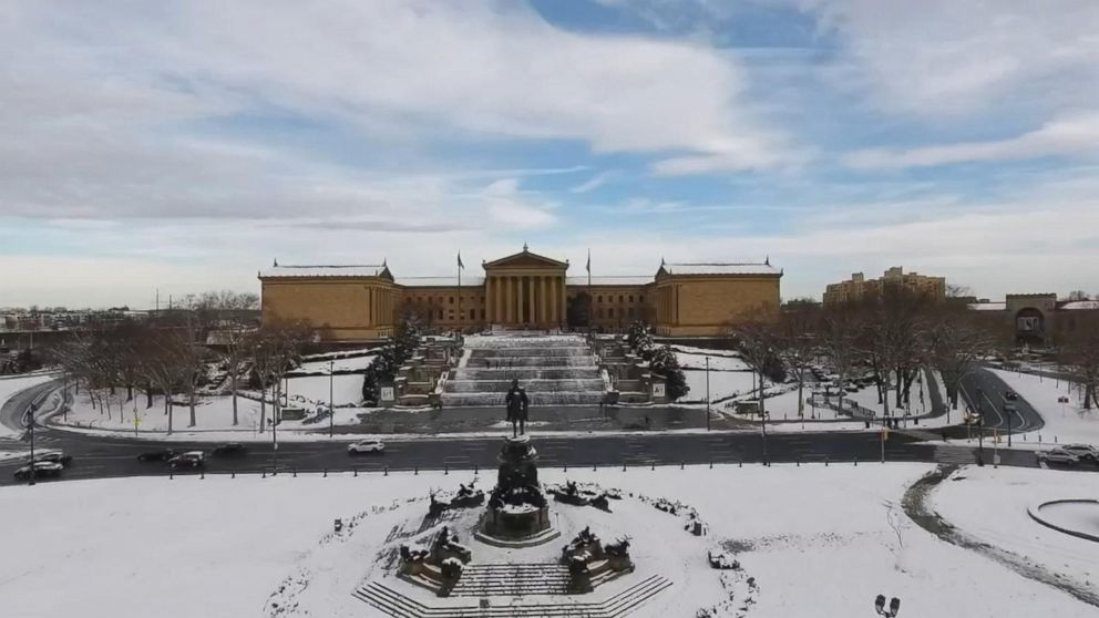 Drone captures snow-blanketed Philadelphia