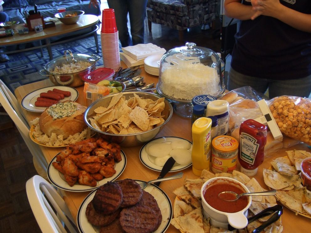 PHOTO: Food is spread out for a Super Bowl Sunday party.