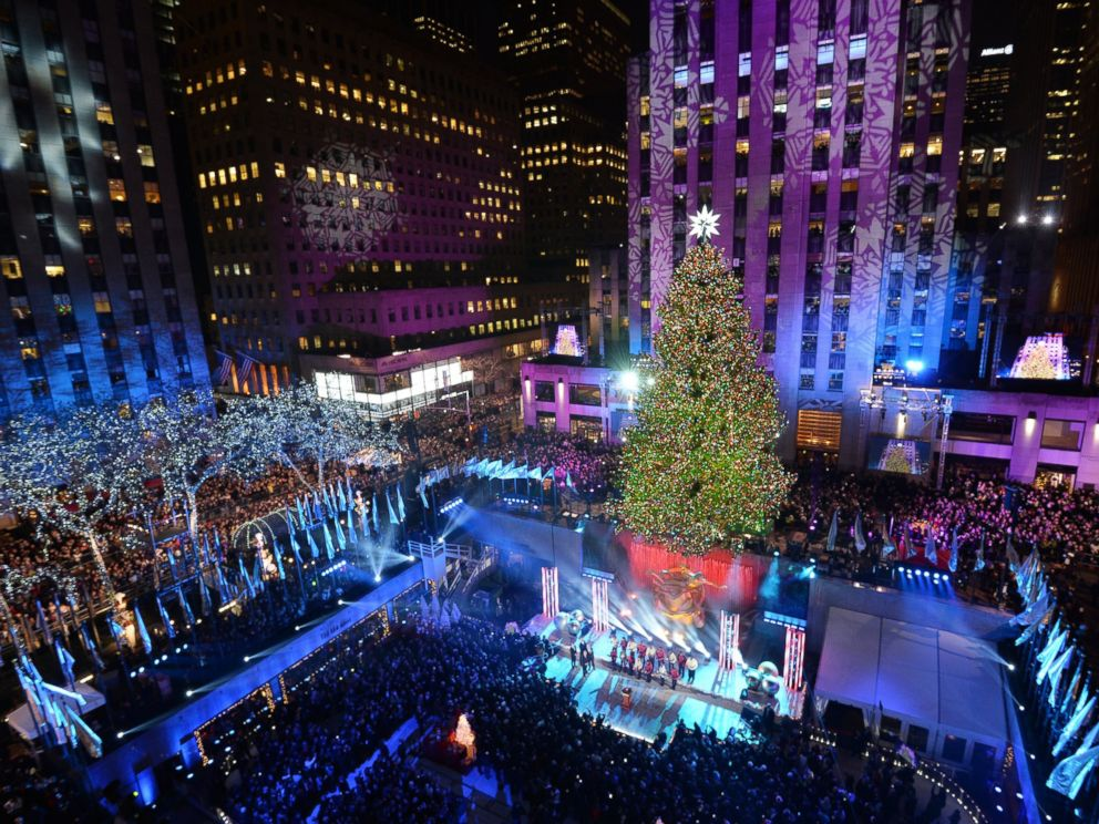 PHOTO: The Rockefeller Center Christmas Tree is lit December 4, 2013 in New York.