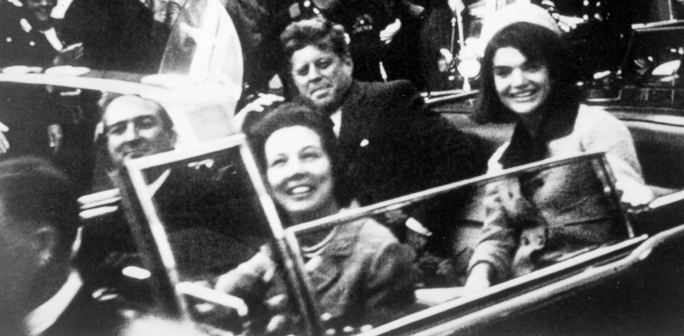 PHOTO: A Close-up view of President and Mrs Kennedy and Texas Governor John Connally and his wife in the Dallas motorcade, Nov. 22, 1963.