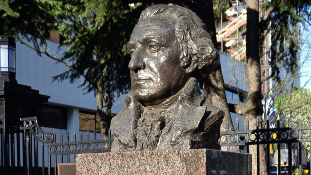 PHOTO: A bust of the first U.S. President, George Washington (1732-1799) on the campus of G.W.U. George Washington University, founded in 1821.