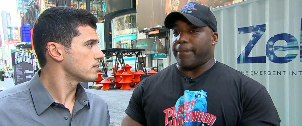 PHOTO:Planet Hollywood security guard Ken Bradix tackled the driver in the Times Square crash to the ground and held him before police got there.