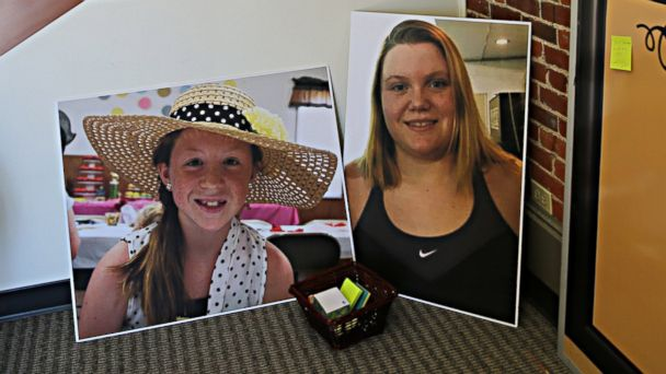 PHOTO: Photos of Abby Williams, left, and Libby German, right, at police headquarters in Adelphi, Indiana.