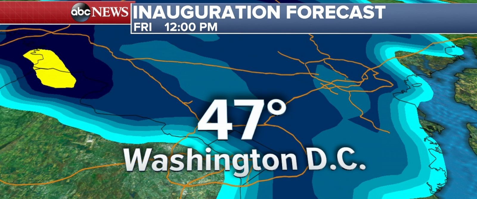 PHOTO: Rain2: Inauguration Weather Forecast at 12PM for Washington, D.C.