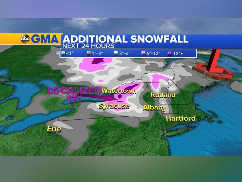 PHOTO: Parts of the northeast can expect more snow today.