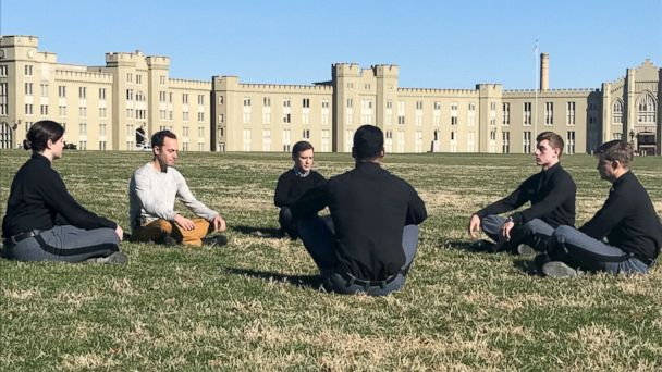 PHOTO: ABC News' Dan Harris and meditation teacher Jeff Warren are seen here teaching cadets at the Virginia Military Institute in Lexington, VA, how to meditate.