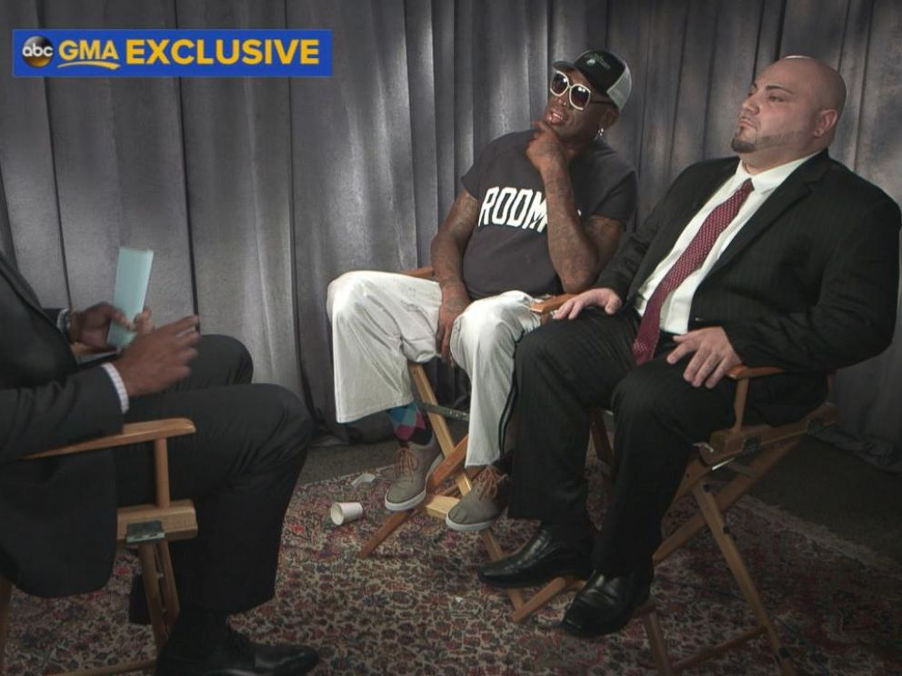 PHOTO: Former professional basketball player Dennis Rodman spoke out in an exclusive interview with GMA co-anchor Michael Strahan about his recent trip to North Korea.