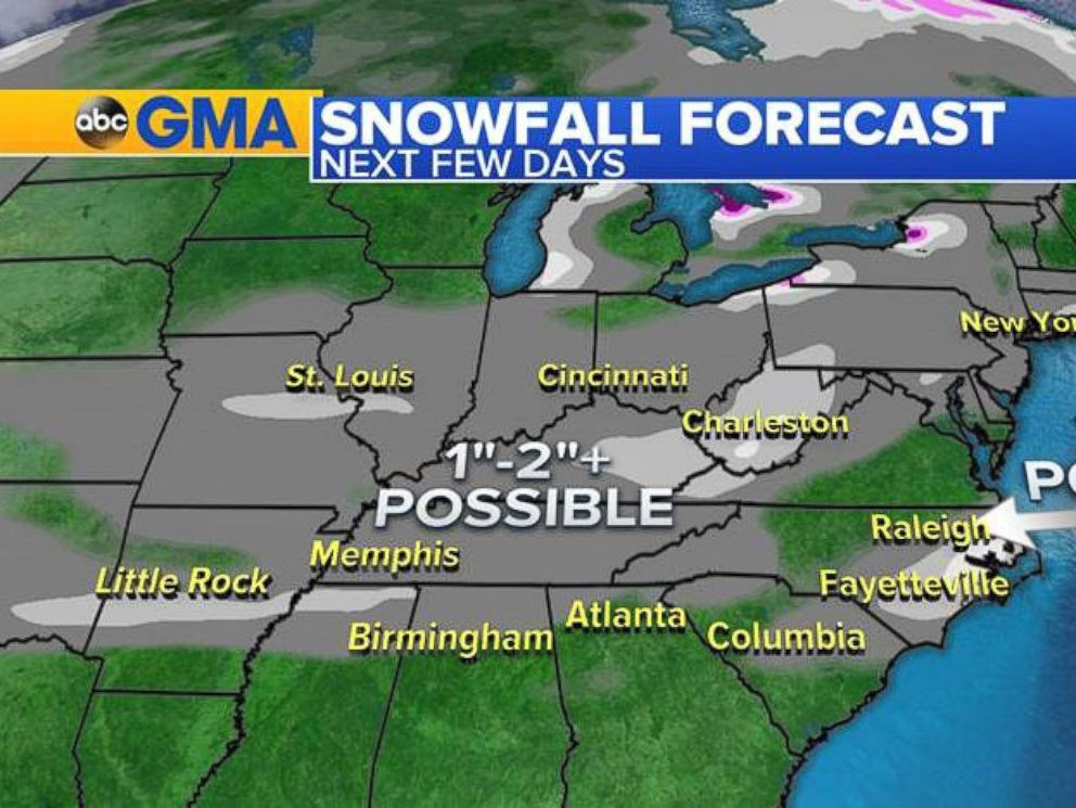 Winter Weather To Sweep Across US With Rain And Snow ABC News - Rain and snow map us