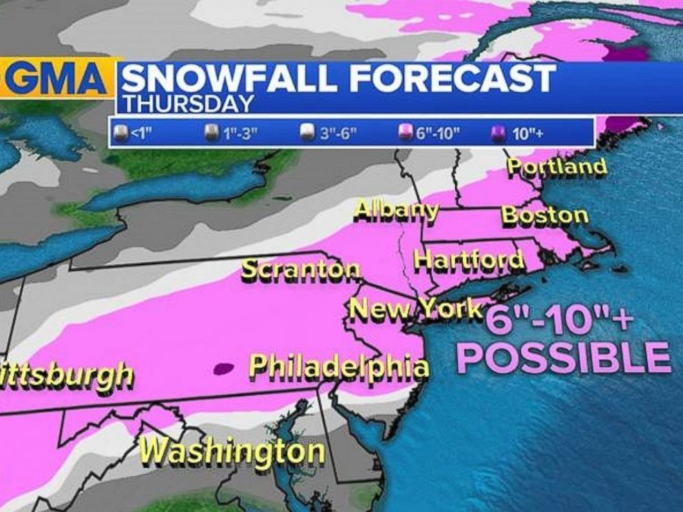 Up to 9 inches of snow expected Thursday after today's springlike weather