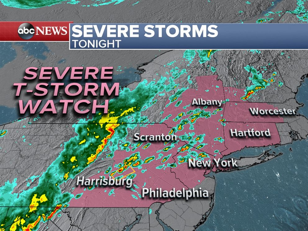 PHOTO: A Severe Thunderstorm Watch has been issued for portions of the Northeast for Monday night.
