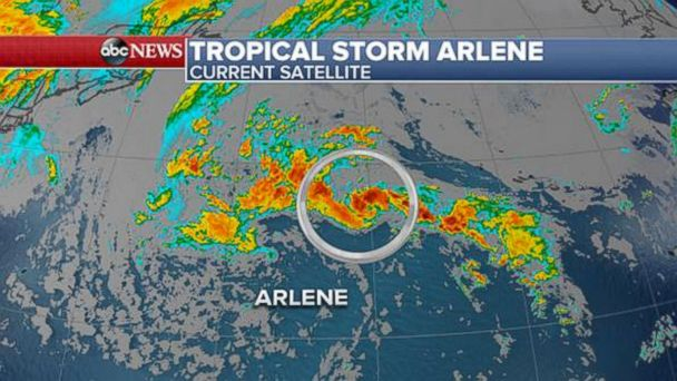 PHOTO: Tropical Storm Arlene moves over the Atlantic Ocean.