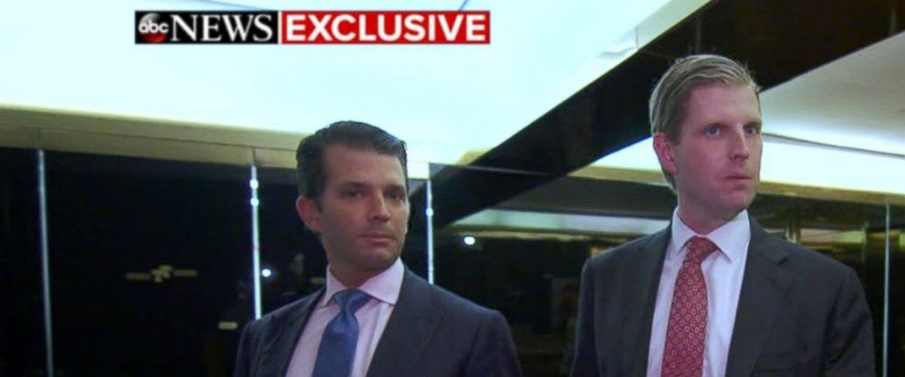PHOTO: Donald Trump Jr. and Eric Trump speak with Tom Llamas of ABC News, June 5, 2017.