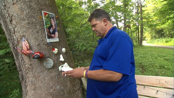 PHOTO: Dave Neese stands near the memorial of his daughter Skylar Neese.
