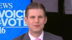 "PHOTO: Eric Trump spoke about his upcoming speech at the Republican National Convention in an interview with ""Good Morning America"" on July 20, 2016, in Cleveland."
