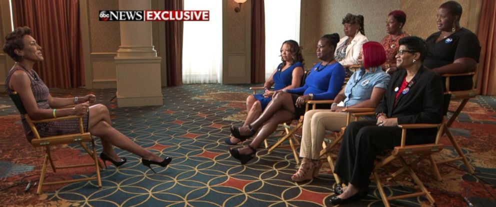 "PHOTO: The seven ""Mothers of the Movement"" members talk to ABC News Robin Roberts ahead of their speech at the Democratic National Convention."