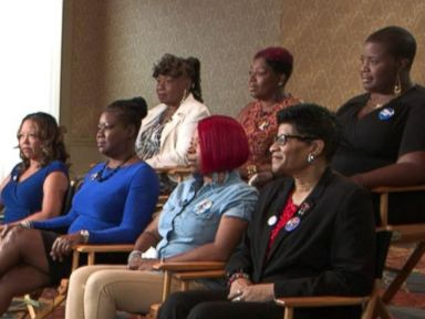 PHOTO: The seven Mothers of the Movement members talk to ABC News Robin Roberts ahead of their speech at the Democratic National Convention.