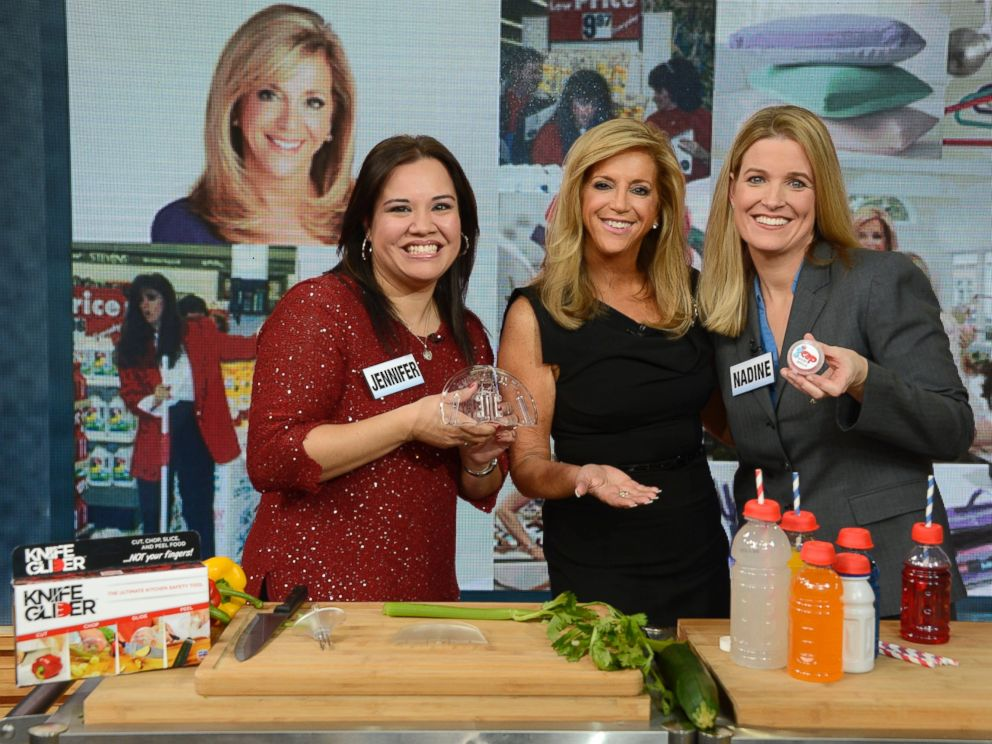 PHOTO: Joy Mangano heard pitches from these two aspiring entrepreneurs.