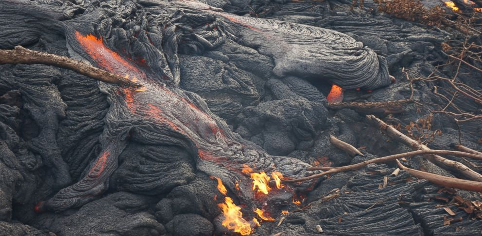 PHOTO: A lava flow is threatening homes and a town on the Big Island of Hawaii.