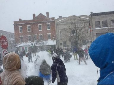 Massive Snowball Fight Breaks Out in Portsmouth, New Hampshire