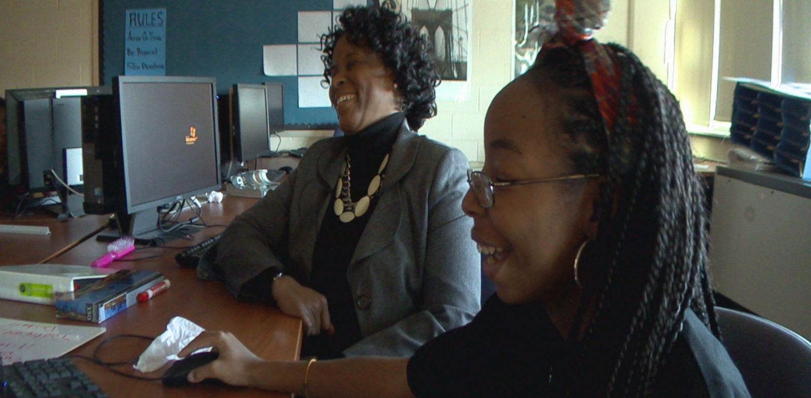 PHOTO: In this 2013 image, Strawberry Mansion High School principal Linda Cliatt-Wayman talks with Malaysia, then a sophomore at the school.