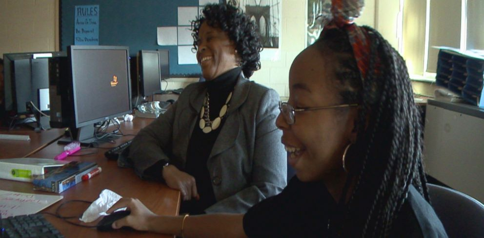 PHOTO: Strawberry Mansion High School principal Linda Cliatt-Wayman talks with Malaysia, a sophomore at the school.