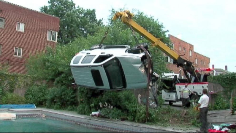 PHOTO: A runaway jeep crashed through a fence and into a pool during a pool party.