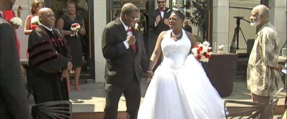 PHOTO: Melanie Gaskin and Pierre Freeman were married in Philadelphia despite doctors diagnosis that Freeman, who has an inoperable brain tumor, has only one more year to live.