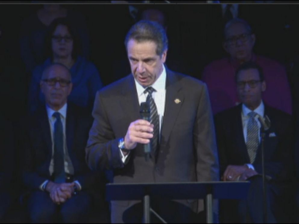 PHOTO: New York Governor Andrew Cuomo delivers remarks at the funeral for New York City police officer Rafael Ramos on Saturday, Dec. 27, 2014.