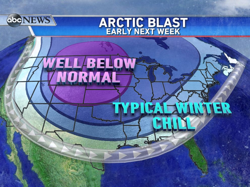 PHOTO: Leading up to New Years, a blast of arctic air will send temperatures plummeting across much of the country.